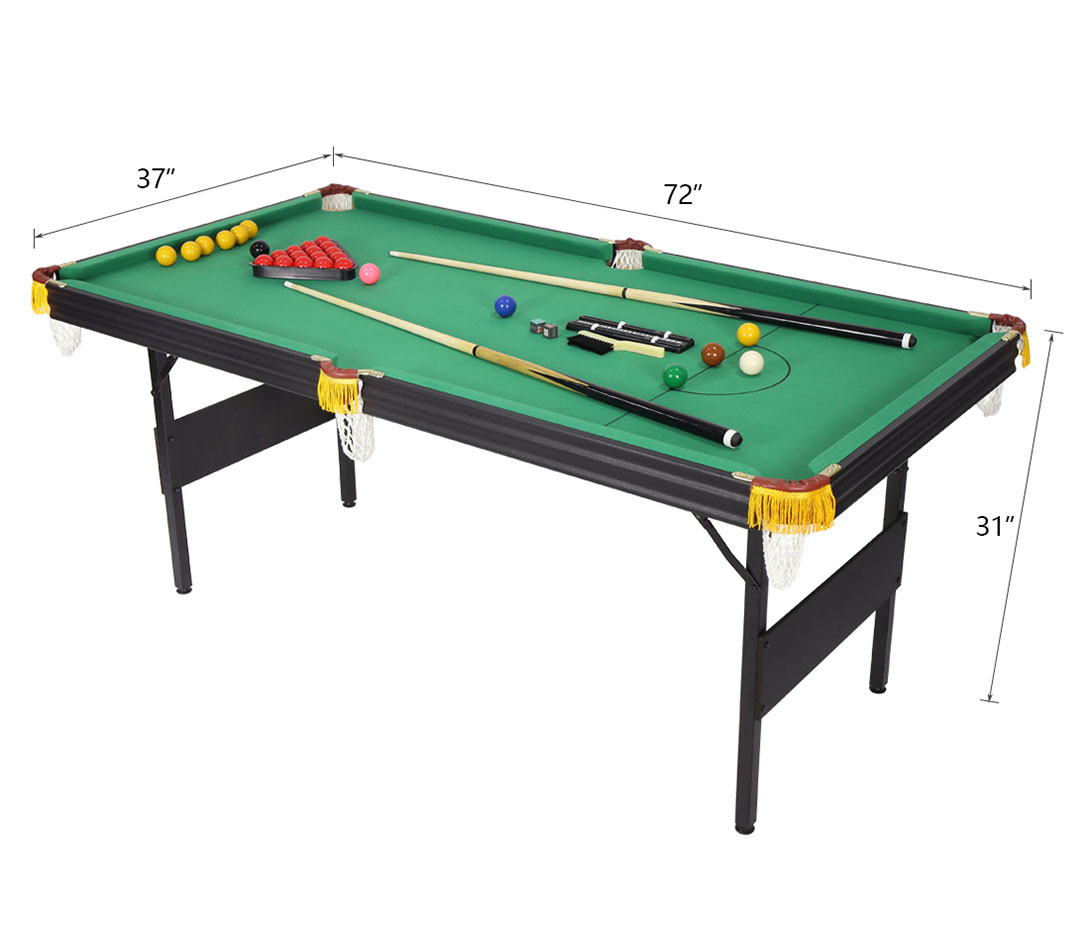 6ft 2 in 1 folding snooker pool table with billiard balls for Pool table 6 x 3