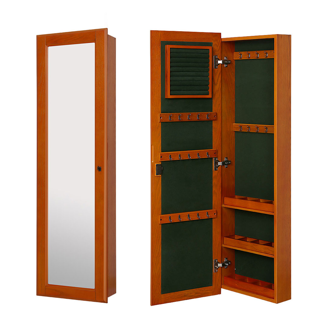 Superior Wall Mount Lockable Jewelry Cabinet Wooden Jewelry Armoire