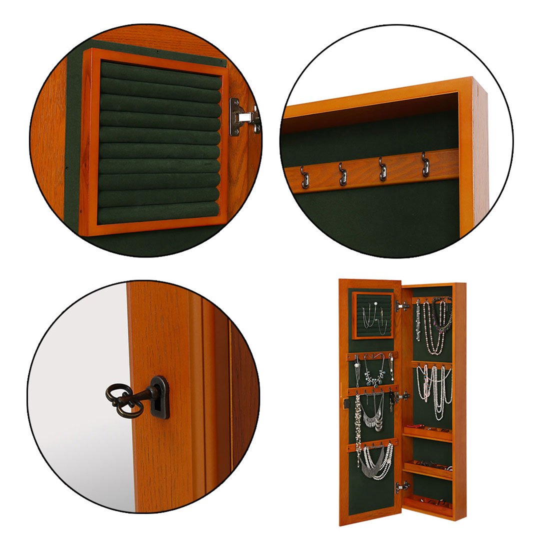 Wall Mount Lockable Jewelry Cabinet Wooden Jewelry Armoire