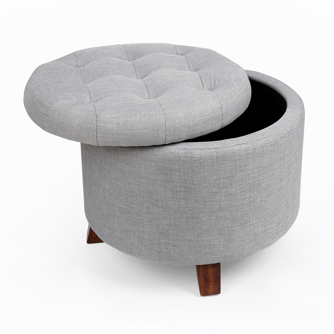 Soft Round Footstool Storage Ottoman Stool With Button