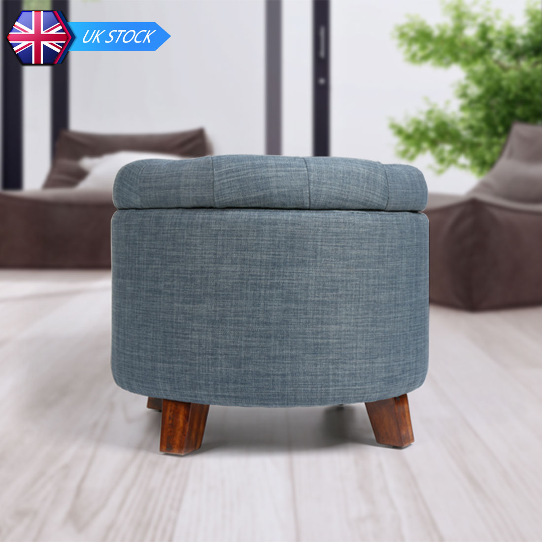 Soft Round Footstool Storage Ottoman Stool with Button Tufted Top
