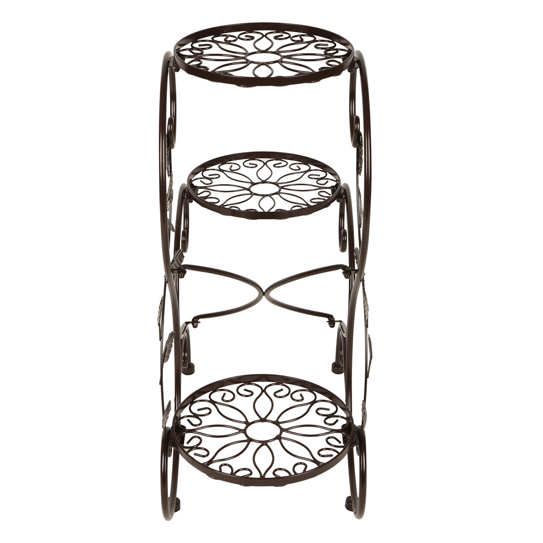 3 tier metal plant stand flower pot display rack holder for Decoration stand