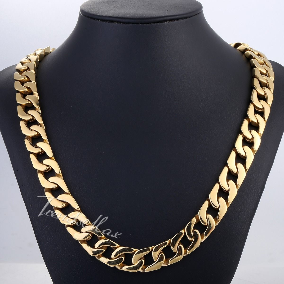 13mm Curb Link Boys Mens Chain Gold Plated 316L Stainless ...