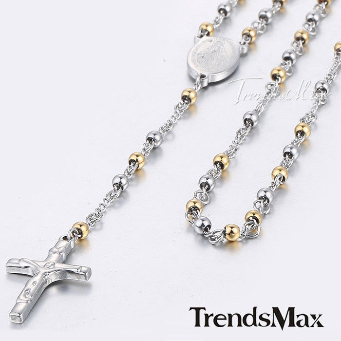 Mens Chain Gold Silver Tone Bead Rosary Stainless Steel