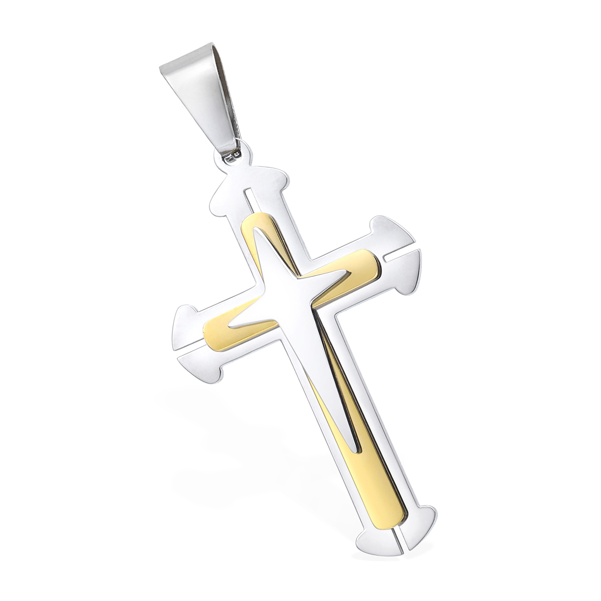 Mens chain black gold silver byzantine stainless steel cross pendant mens chain black gold silver byzantine stainless steel aloadofball Images