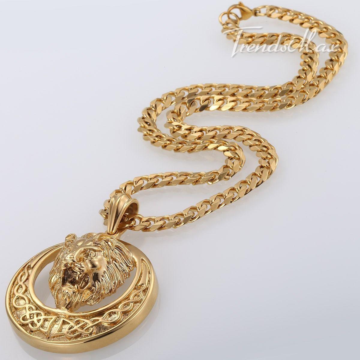 lion knot pendant gold plated mens chain cuban curb link. Black Bedroom Furniture Sets. Home Design Ideas