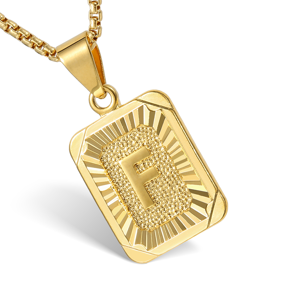 mens women chain pendant necklace gold filled square With mens letter pendant