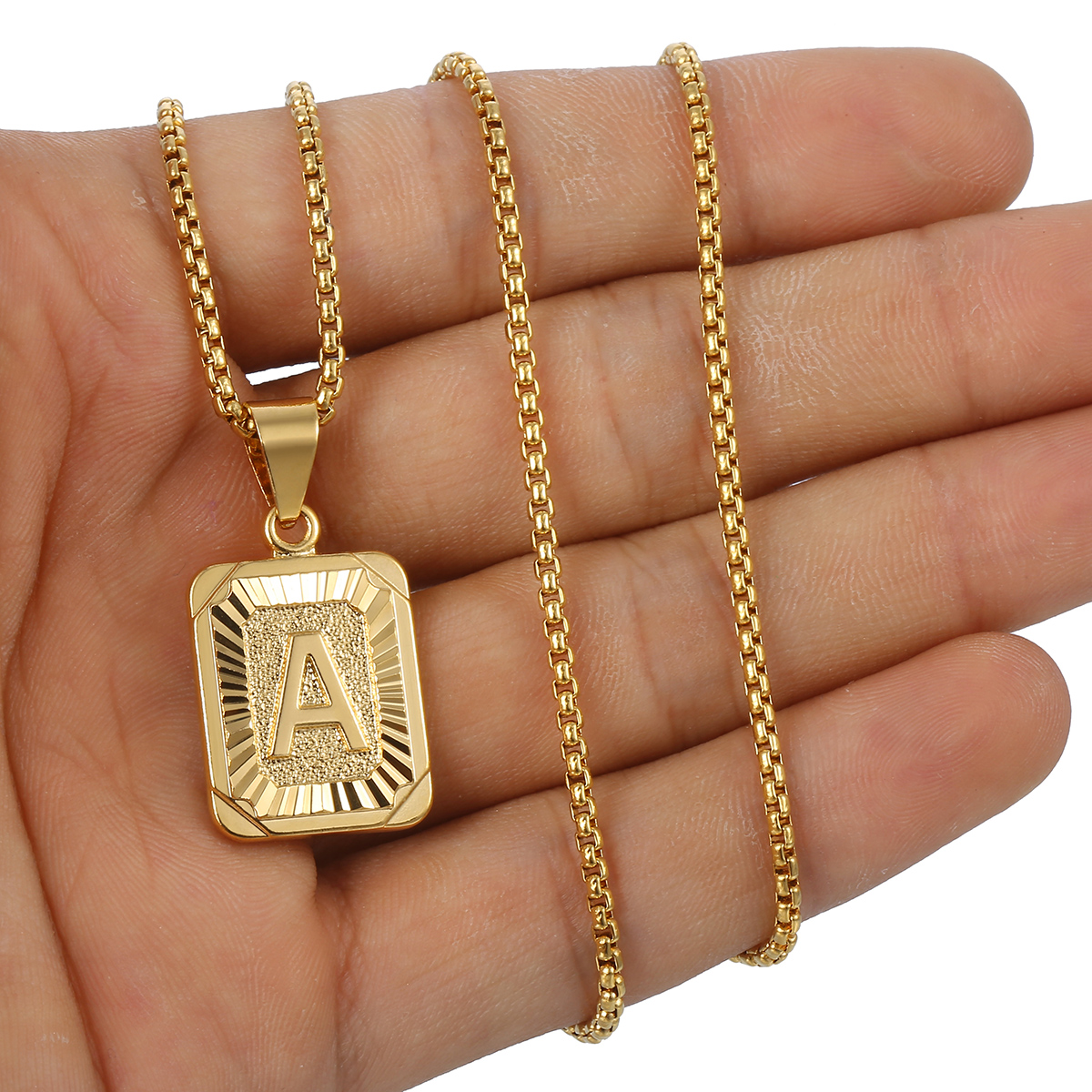 mens women chain pendant necklace gold filled square. Black Bedroom Furniture Sets. Home Design Ideas