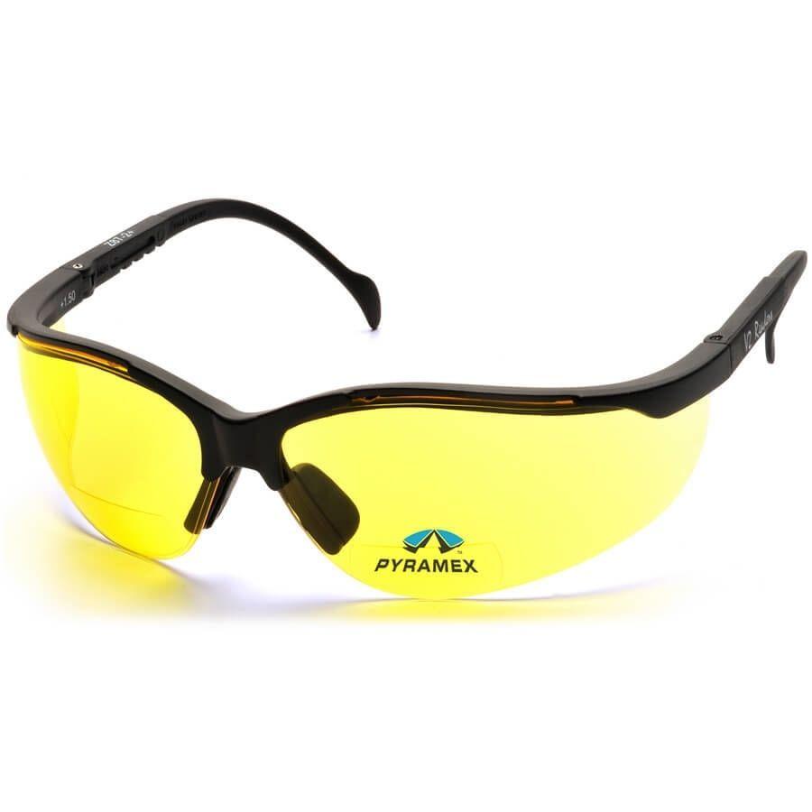 No Frame Safety Glasses : Pyramex V2 Reader Bifocal Safety Glasses with Black Frame ...