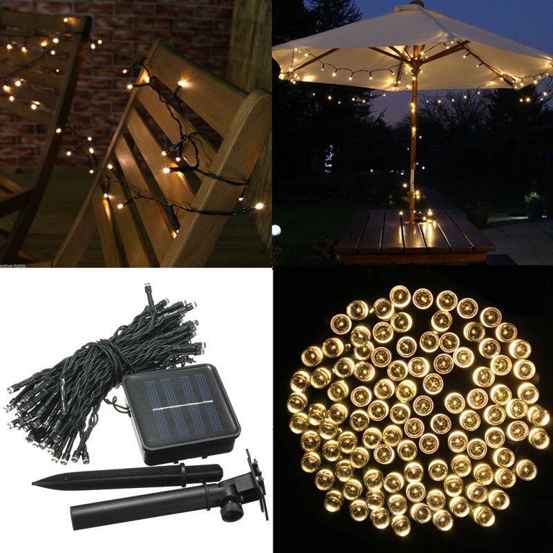 22m 200 led wasserdicht solar lichterkette au en party. Black Bedroom Furniture Sets. Home Design Ideas