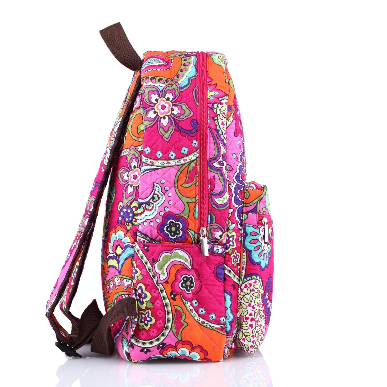 Quilted Cotton Floral Zippered School Campus Backpack Baby BagPlum Crazy Pattern