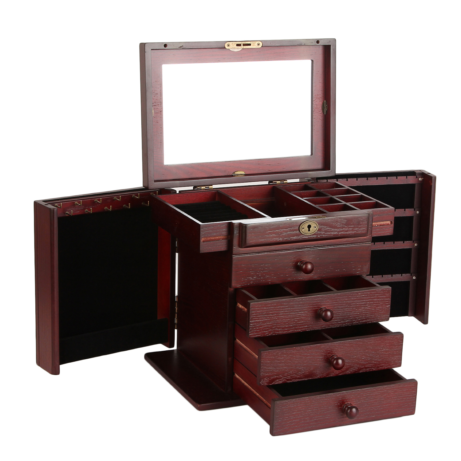 Wood Jewelry Box Organizer Armoire Ring Necklace Display