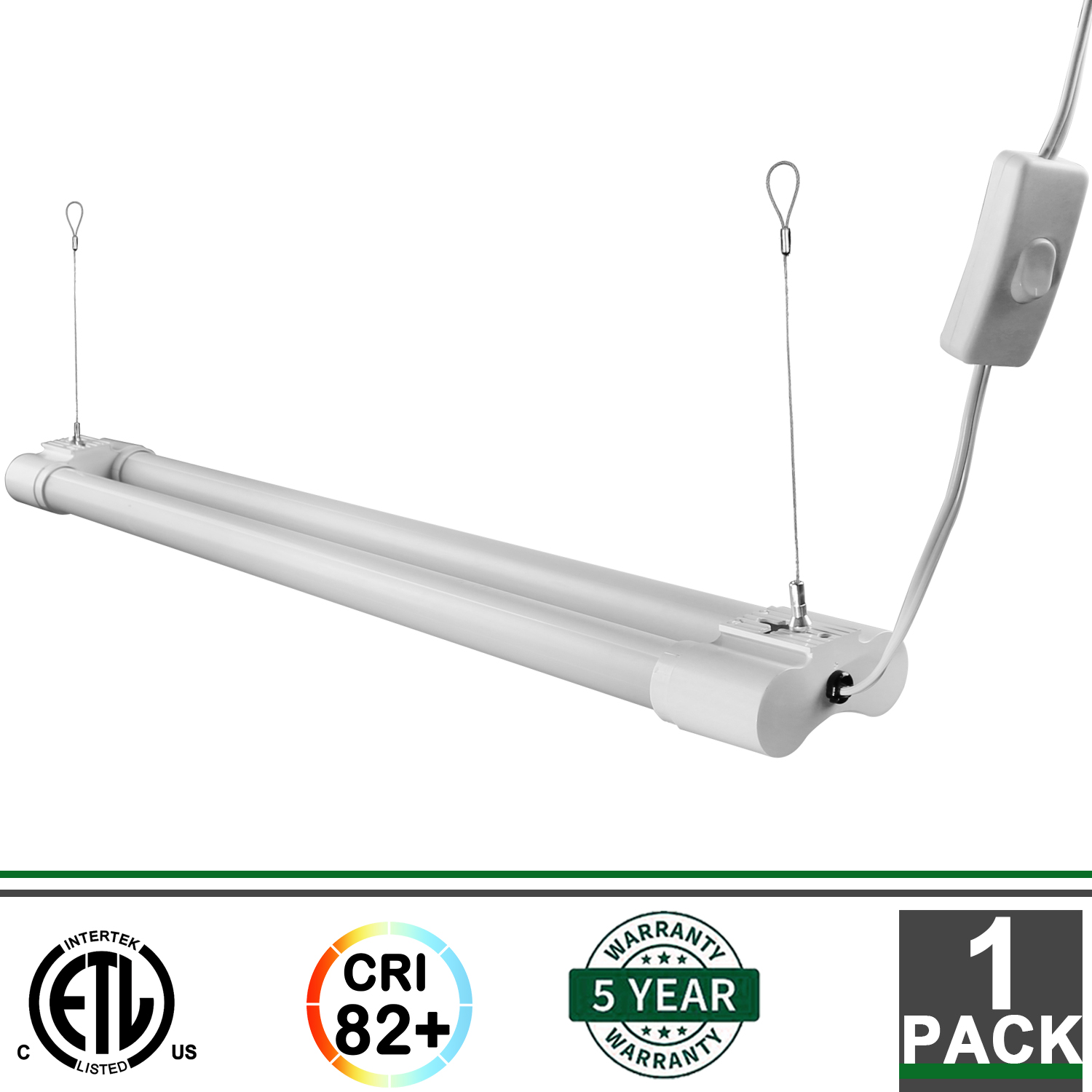 2FT 18W Integrated LED Fixture 5000K 1800 Lumens Garage