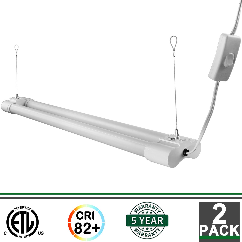 2x 2FT Integrated LED Fixture 5000K 1800 Lumens Garage