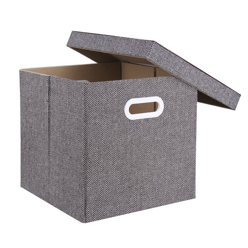 Storage Box Foldable Polyester Canvas Bins With Lid Home