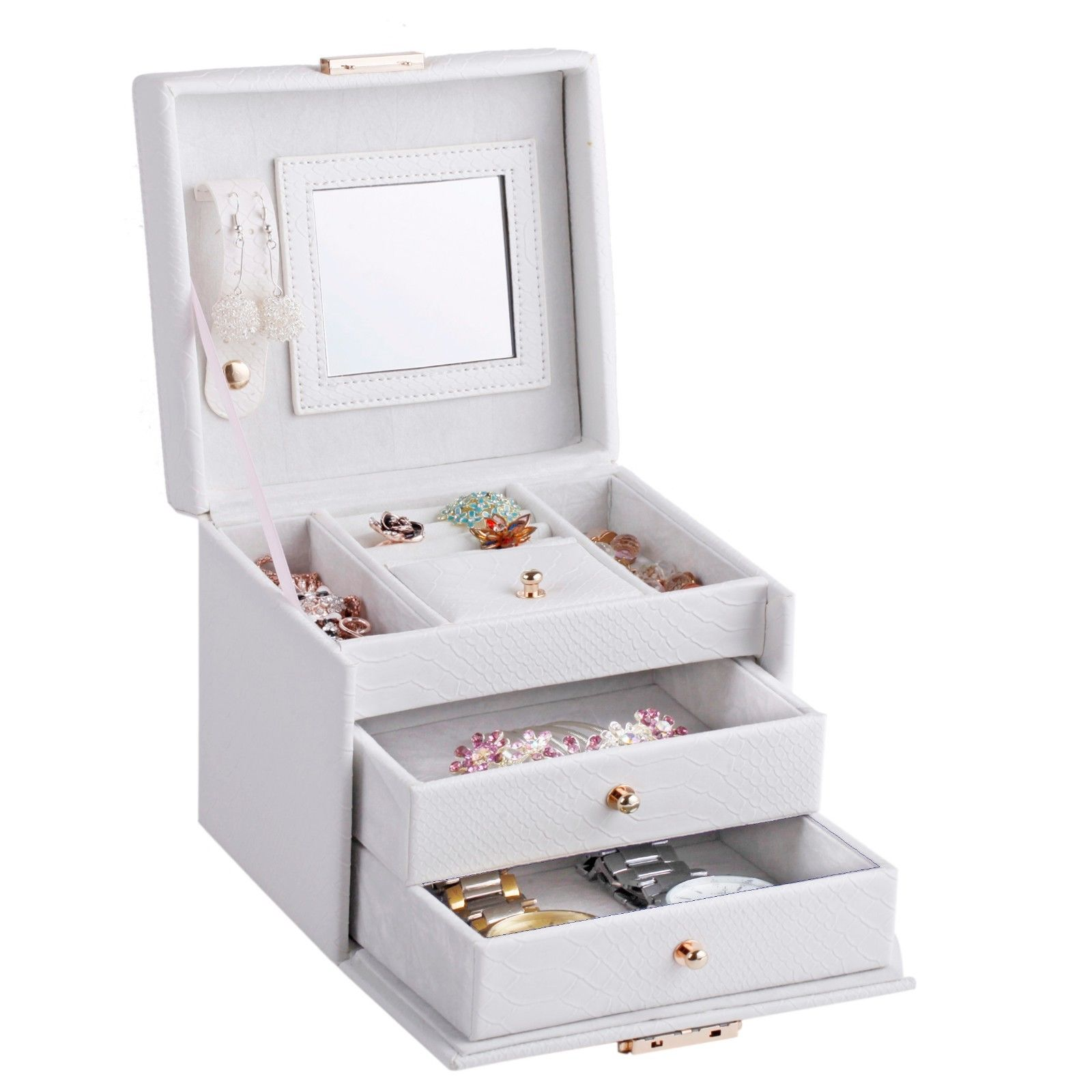 Cute jewelry box case ring earring necklace storage for Cute engagement ring boxes