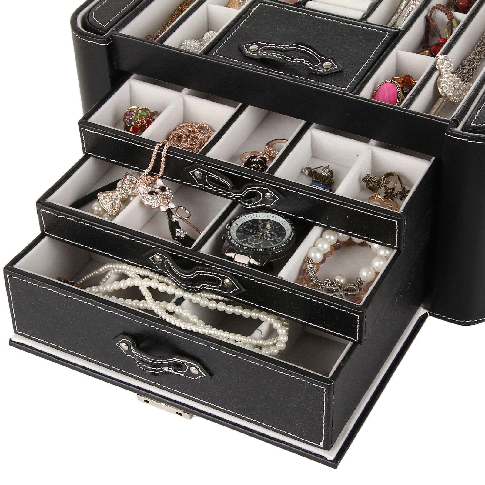 Jewelry box case ring necklace trinket watch storage organizer love 39 s gift 149 ebay for Watches box
