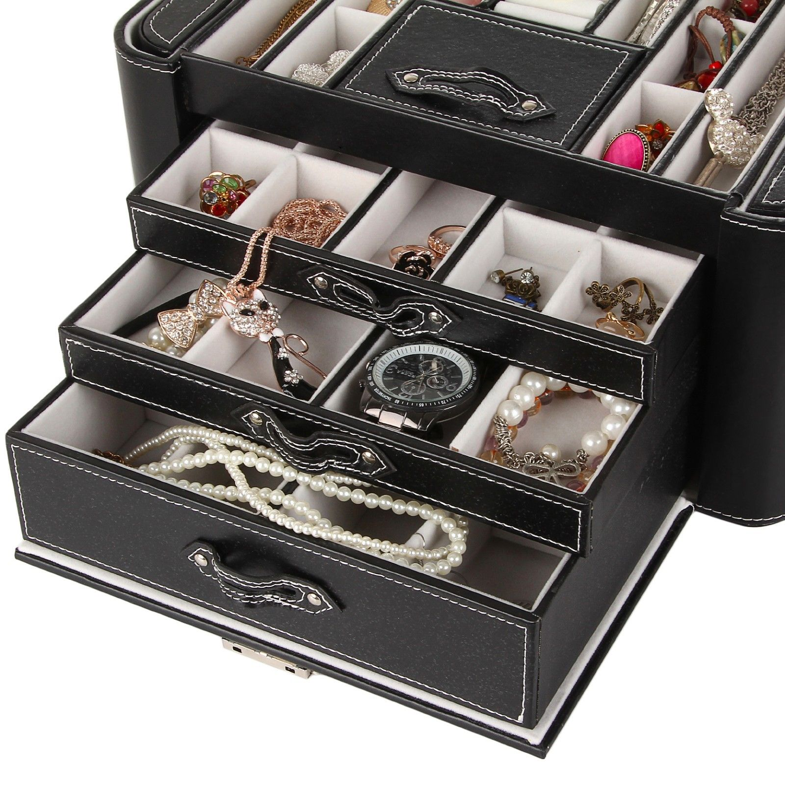 Large black white faux leather jewelry box case storage for Jewelry box with key