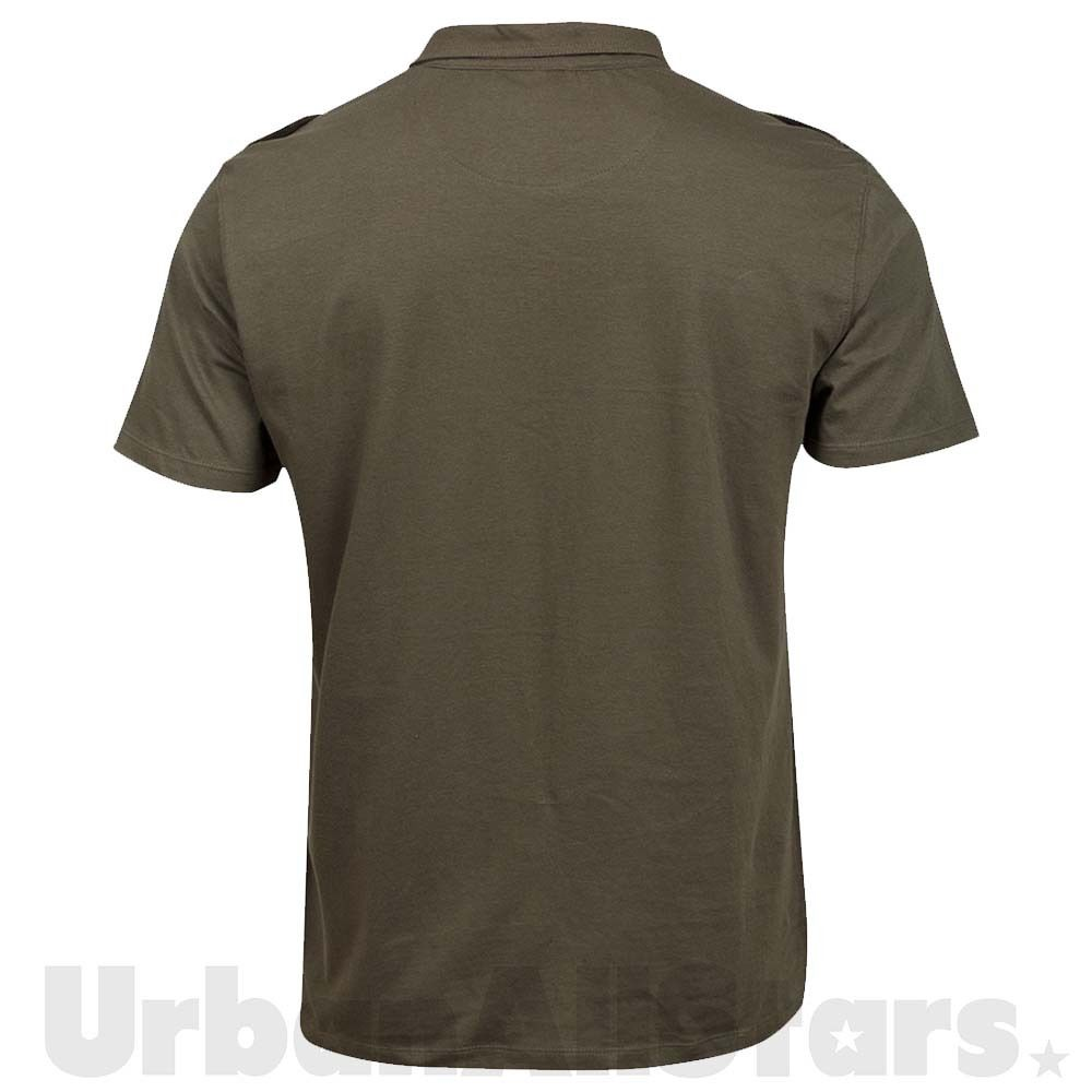 Mens polo shirt casual khaki green twin chest pocket army for Men s polo shirts with chest pocket