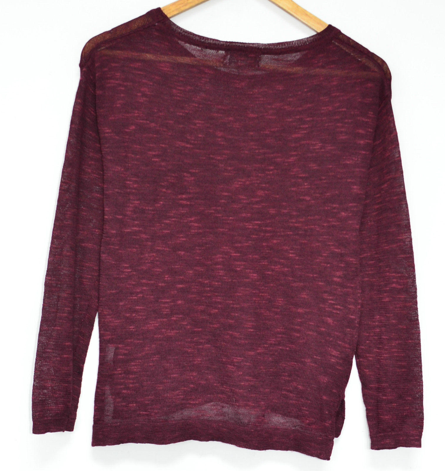 Ladies Long Sleeve Light Burgundy Sweater Womens Knitted Casual ...