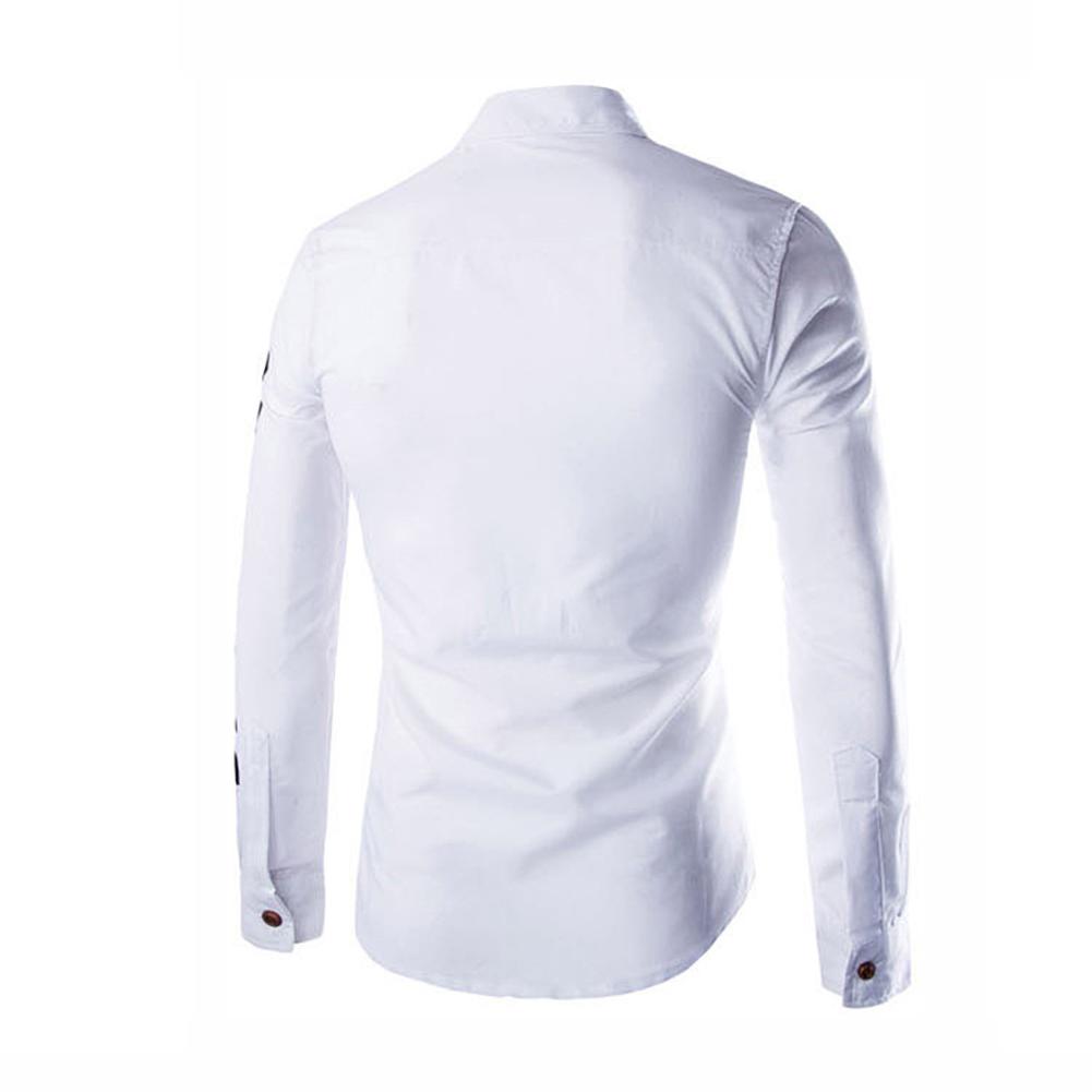 Mens-Long-Sleeve-T-Shirt-Slim-Fit-Letter-Print-Fashion-Biker-Dress-Shirt-Tops
