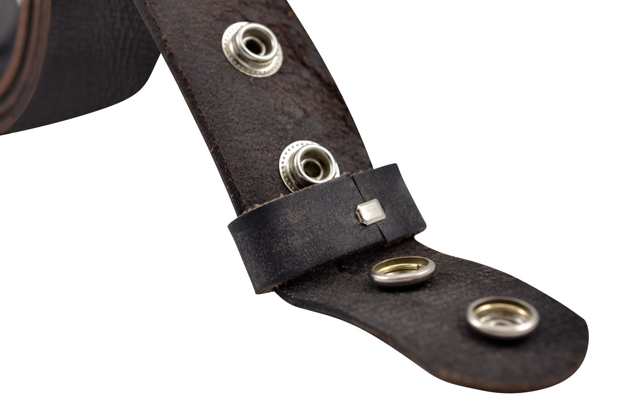 Black Vintage Full Grain Buffalo Leather Solid 1-Piece Belt Strap
