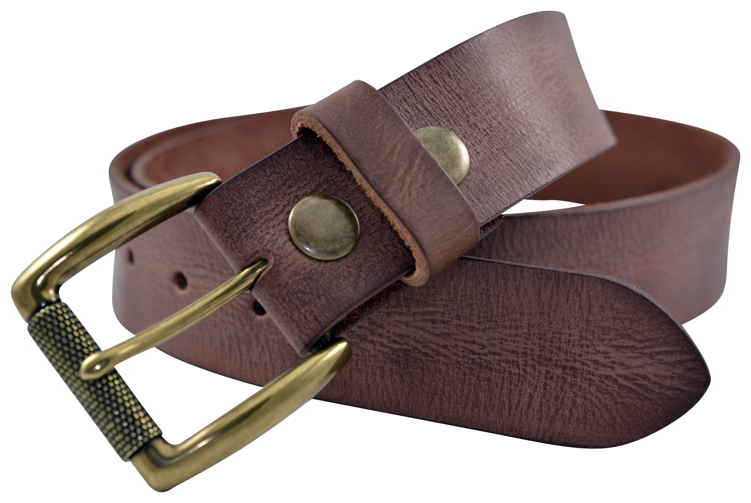 Brown Vintage Full Grain Buffalo Leather Belt w//Roller Buckle