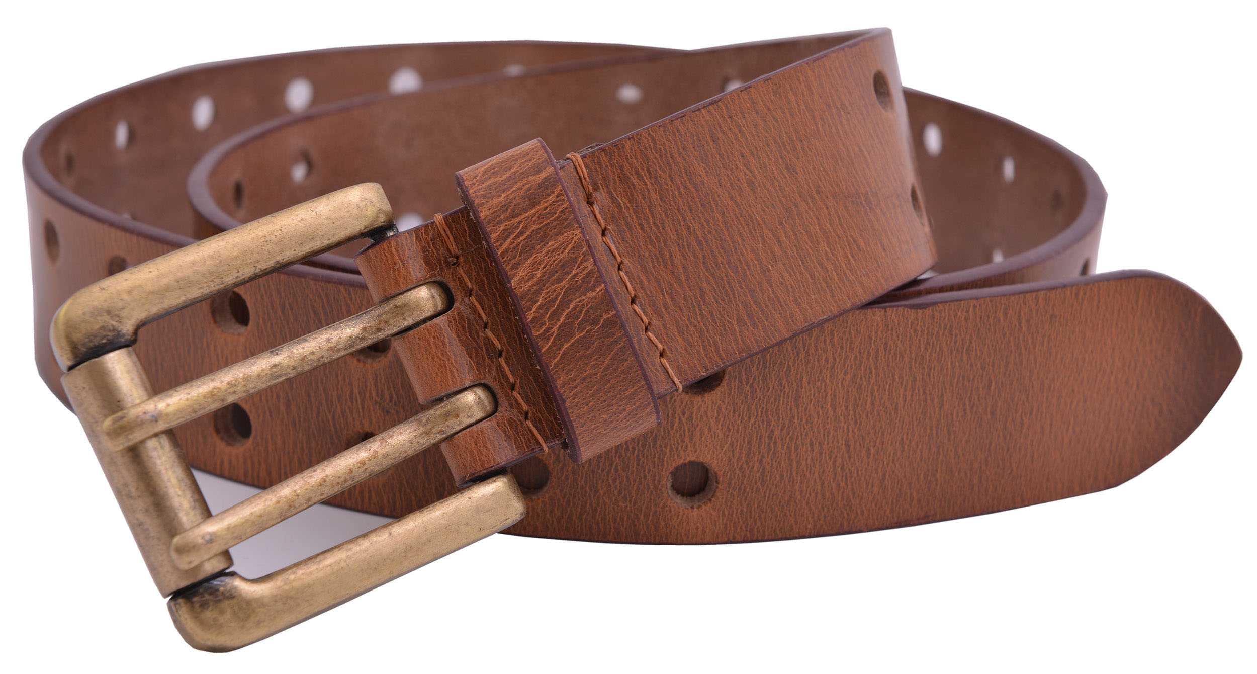 TheBeltShoppe.com Tan Full Grain SOLID Buffalo Leather 2-Hole Jeans Belt