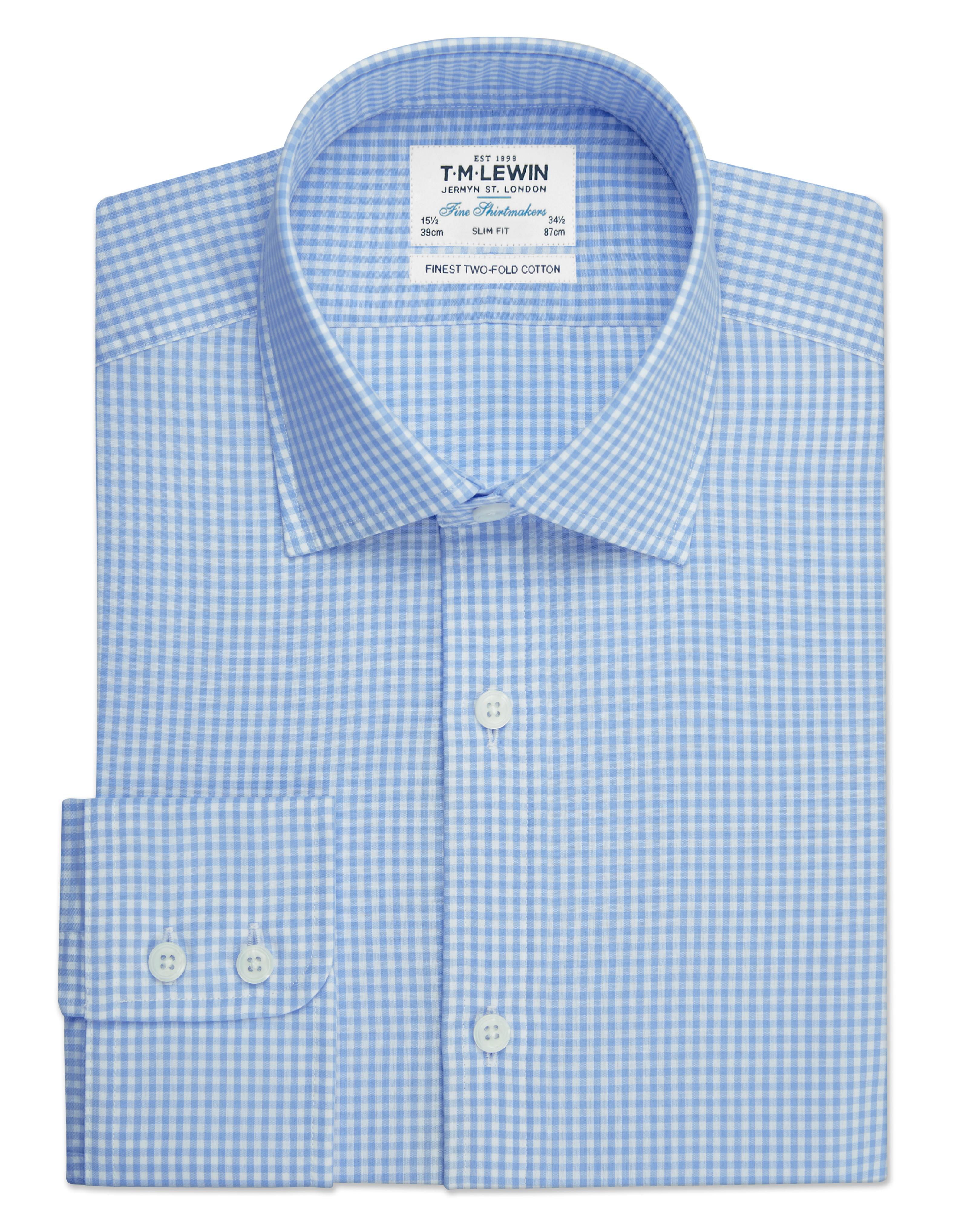 T.M.Lewin Mens Light Blue Gingham Slim Button Cuff Shirt