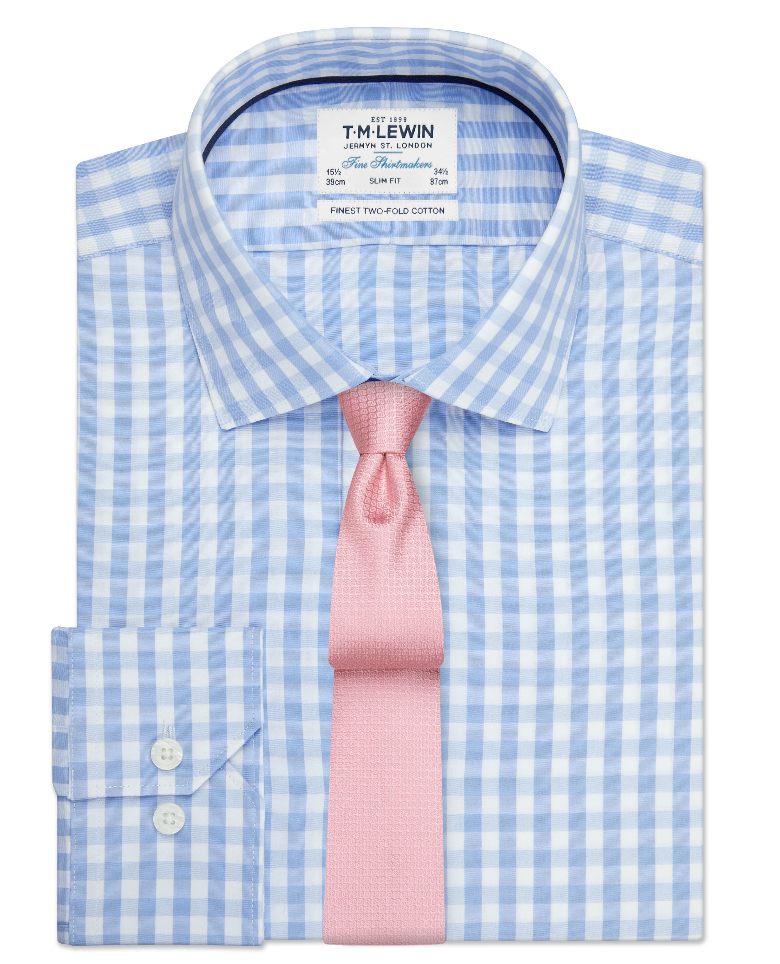 T.M.Lewin Mens Block Check Slim Fit Blue Single Cuff Shirt