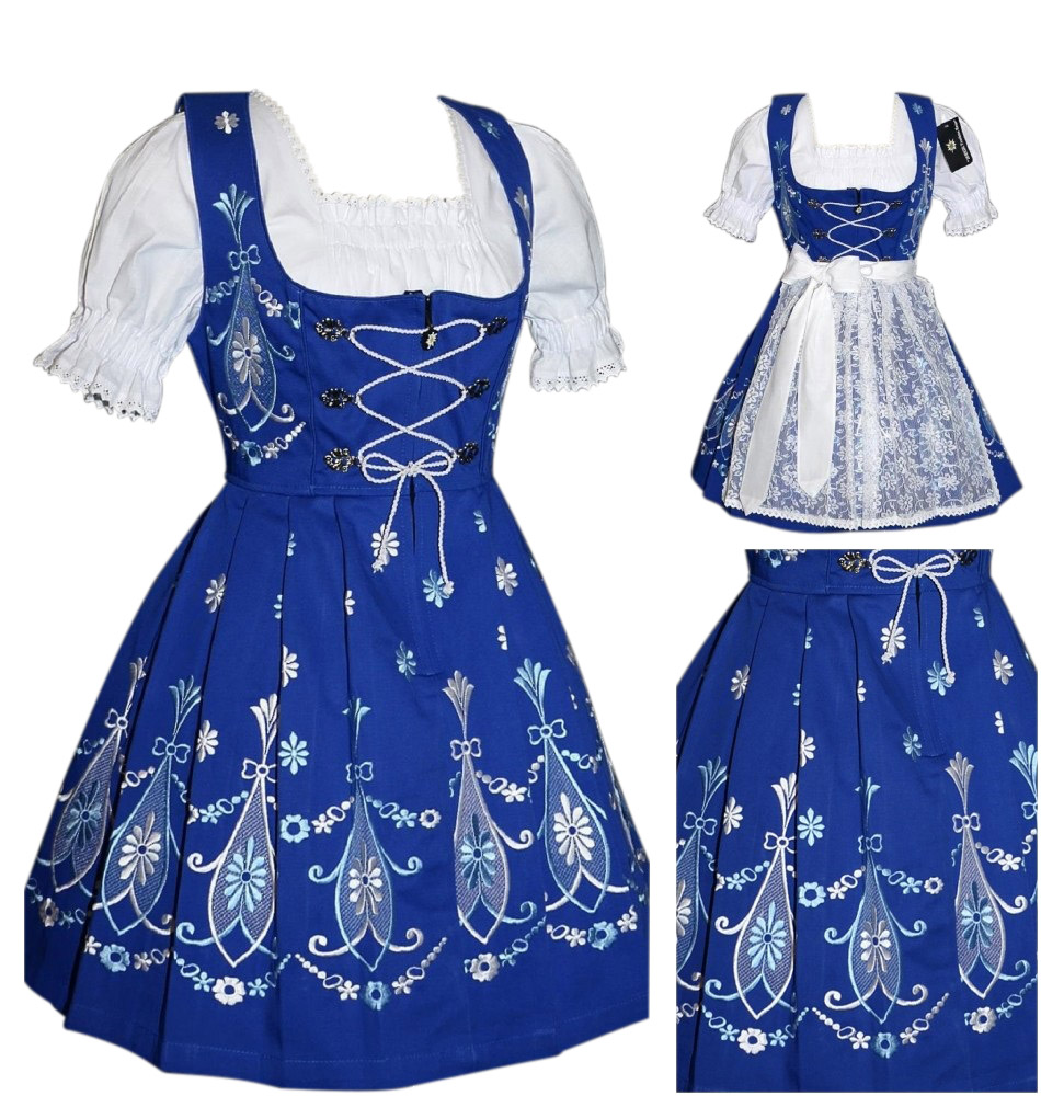 German Blue Dirndl Waitress Dress Oktoberfest Short Swing Party EMBROIDERED 3pcs