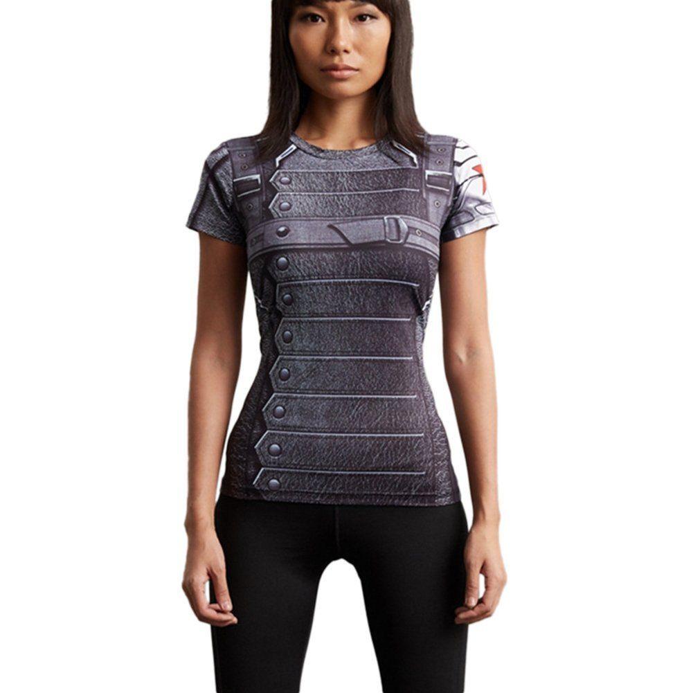 Superheroe-de-Marvel-Camiseta-de-Manga-Corta-Mujeres-Compression-Deportes-Jersey