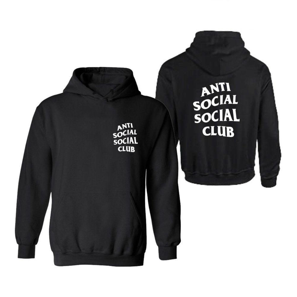 Black White Anti Social Social Club Men's Hoodie Sweater ...