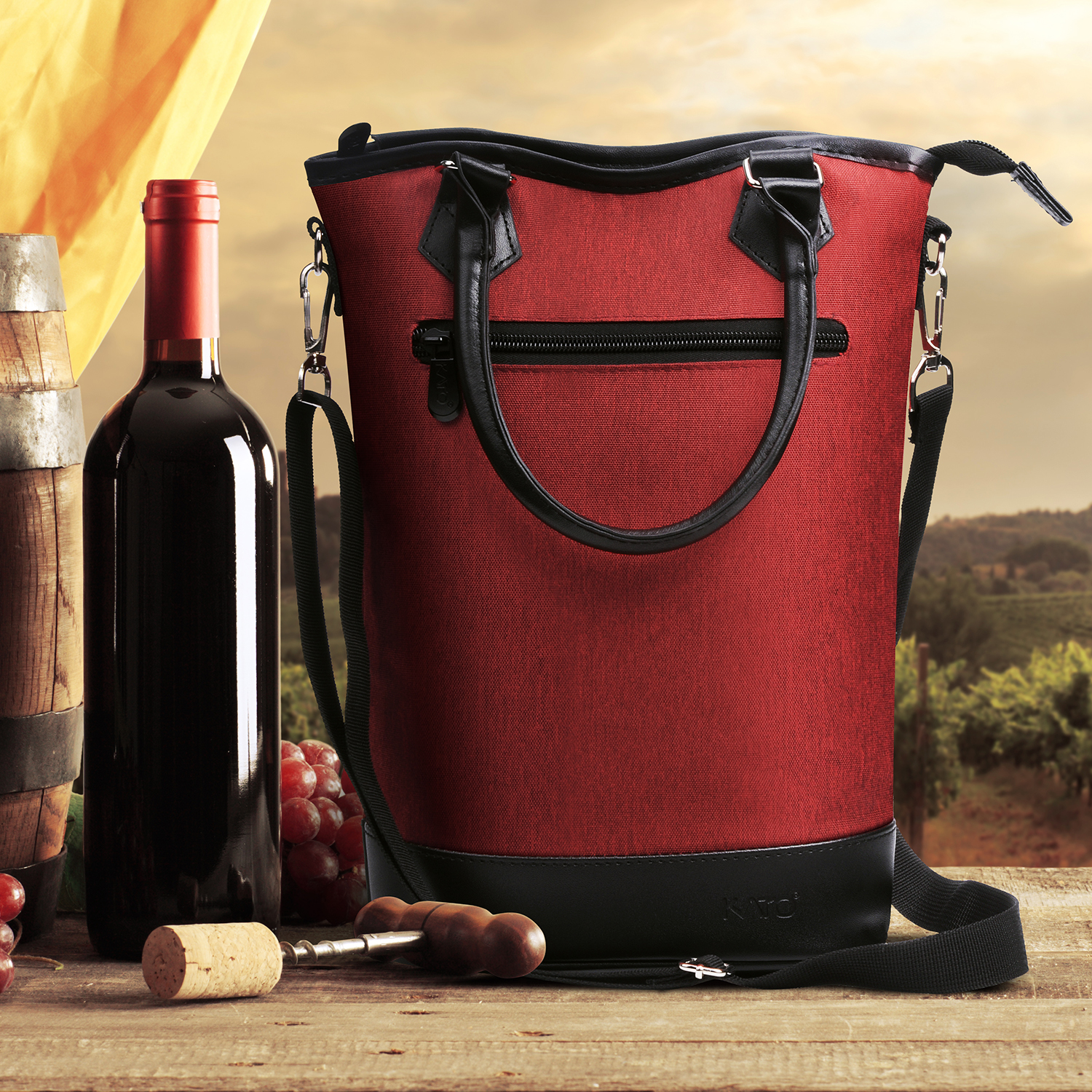 Luxury Wine Carrier Tote Insulated Cooler Bag for 2 Bottle Wine Carrying Case