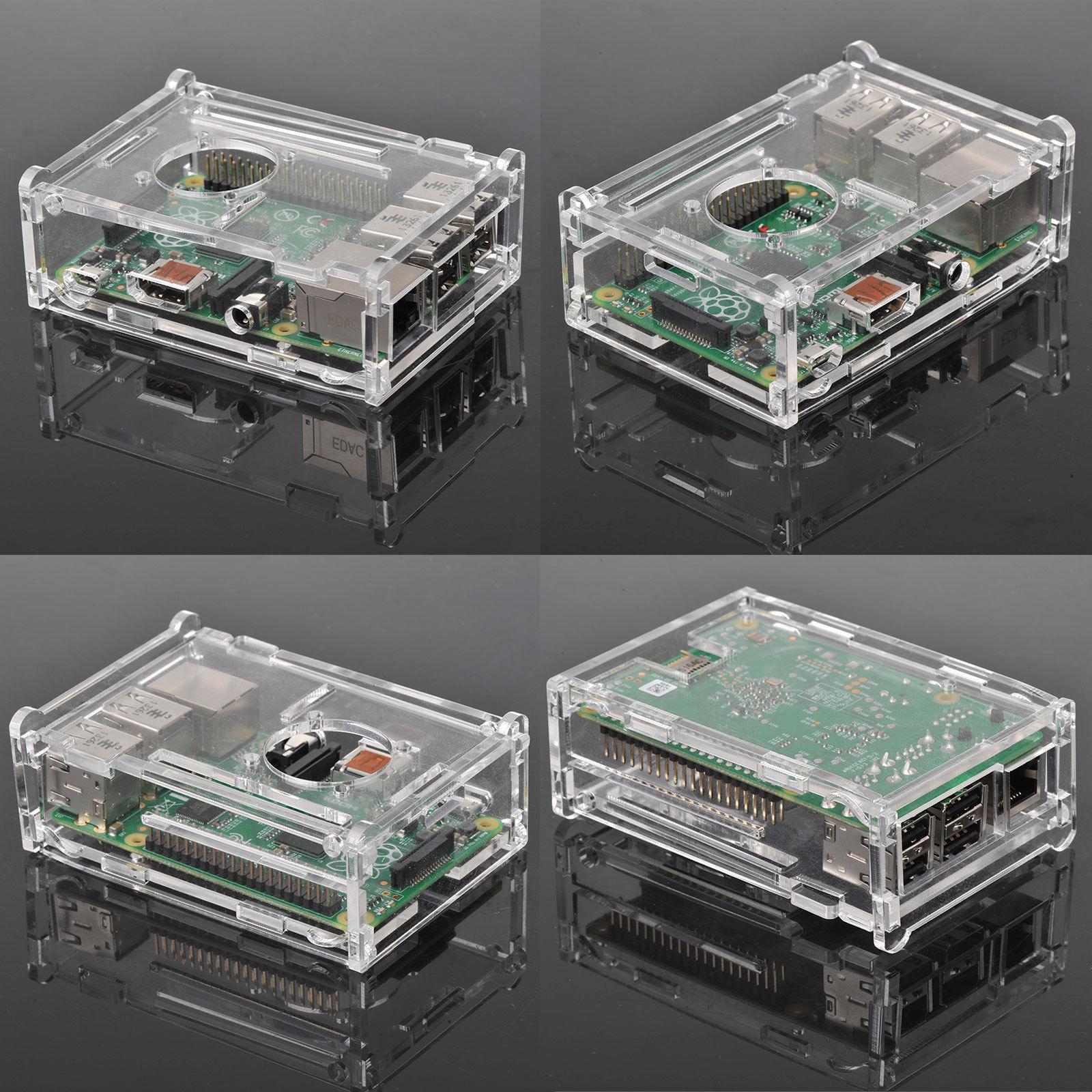 Cooling Fan Clear Case Enclosure Box Heatsink For Raspberry Pi B+//2//3 Model B