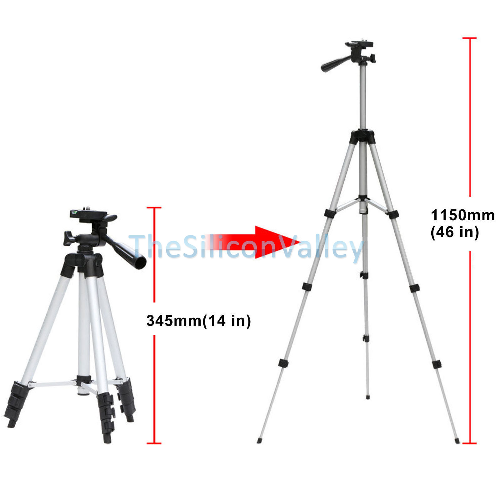 Portable Professional 360° Camera Tripod Stand Mount+Tablet Holder Fr iPad 2/3/4