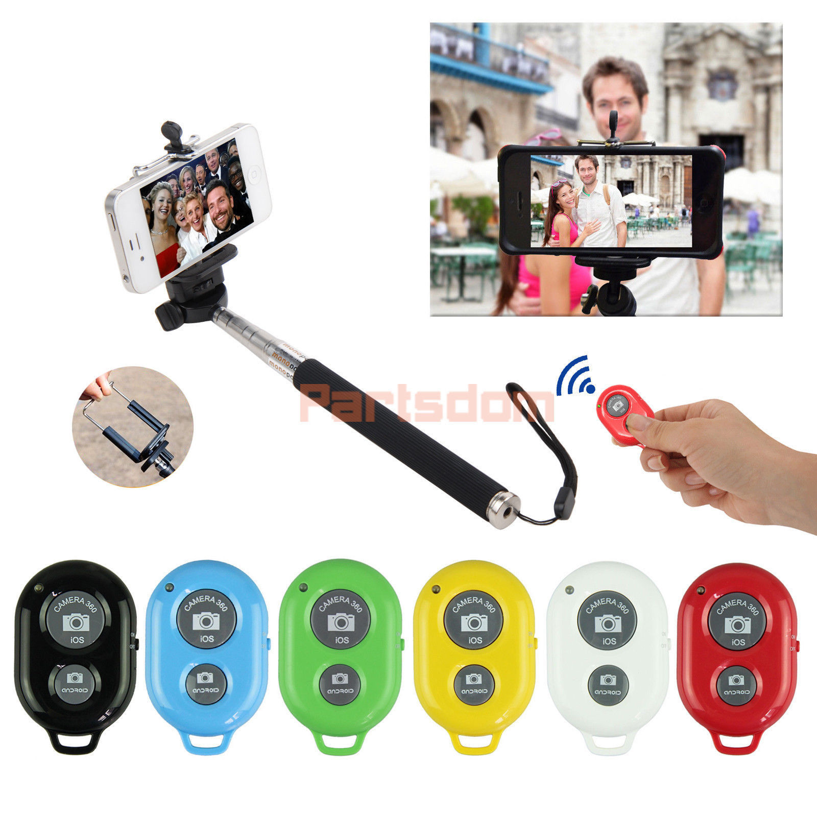 Bluetooth Selfie Monopod Stick Remote Pole Shutter For iPhone 6 Samsung Note 5