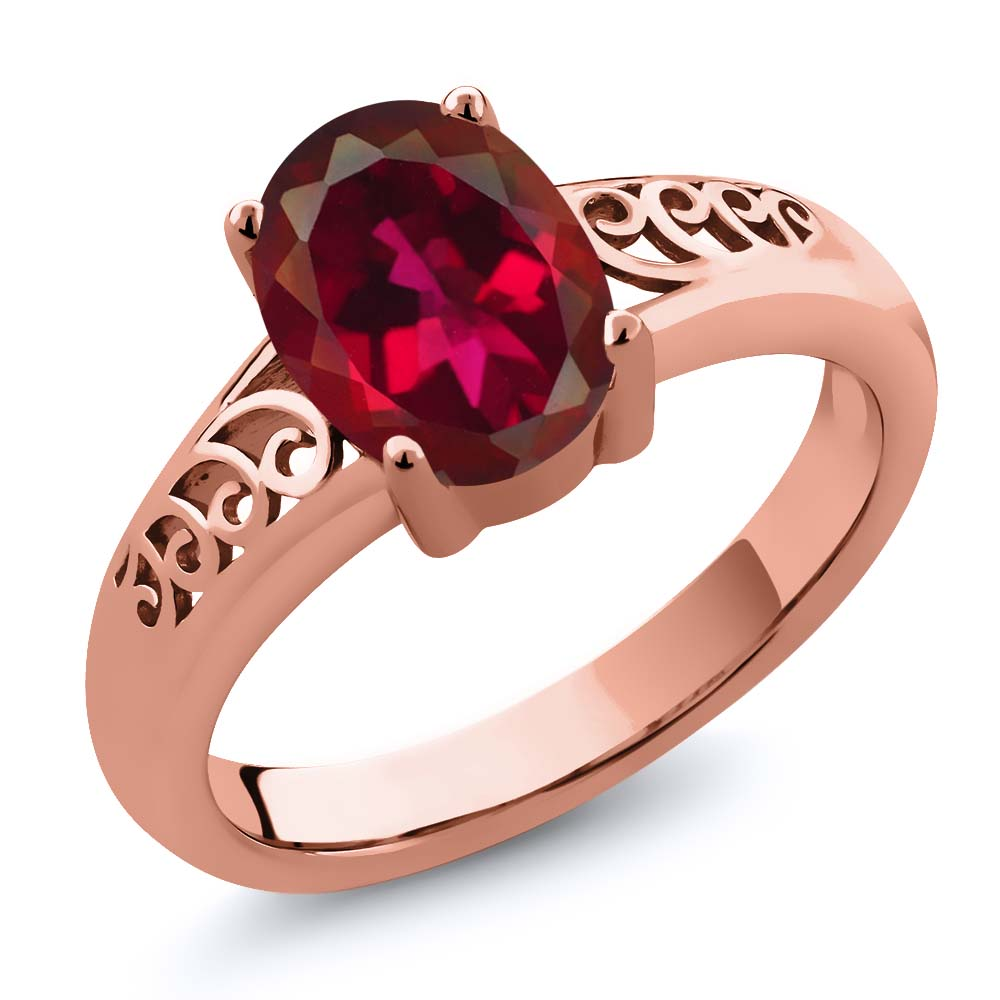 Gem Stone King 1.80 Ct Oval Crimson Red Mystic Quartz 14K Rose Gold Ring