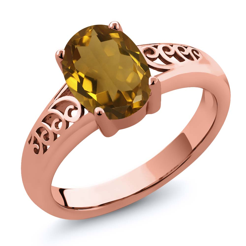 Gem Stone King 1.40 Ct Oval Whiskey Quartz 14K Rose Gold Ring