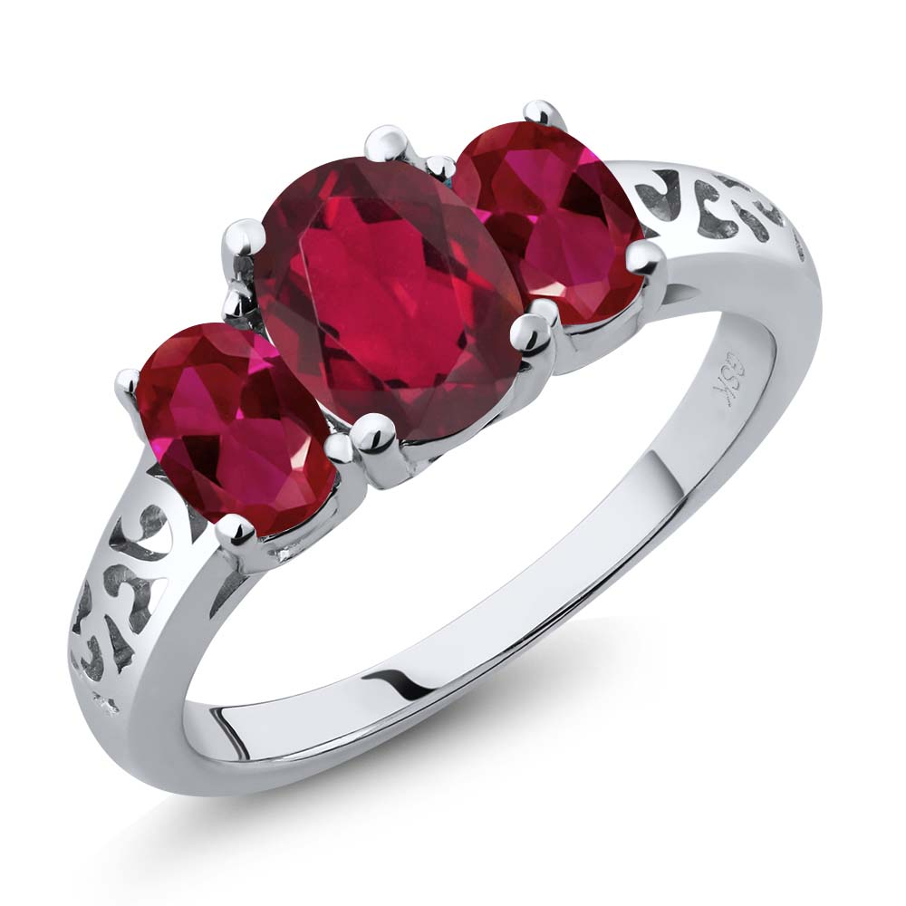 Gem Stone King 2.30 Ct Oval Ruby Red Mystic Topaz Red Created Ruby 925 Sterling Silver 3-Stone Ring