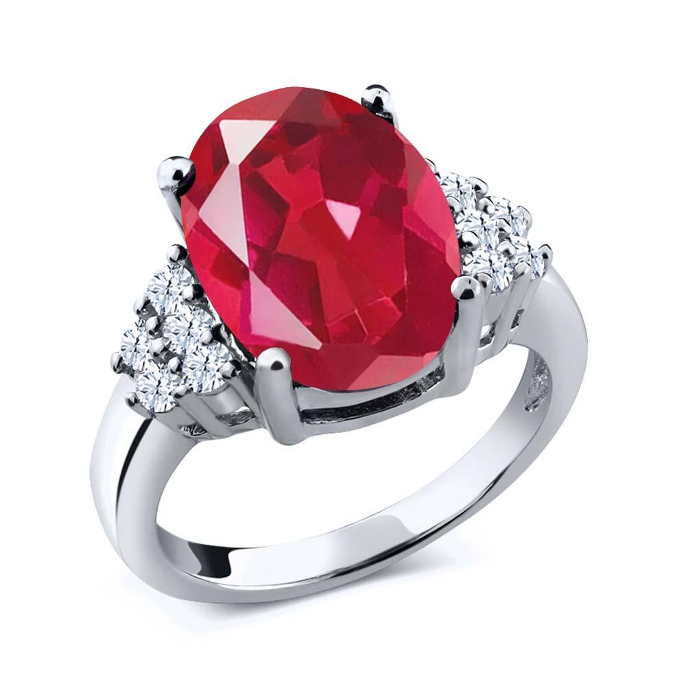 Gem Stone King 5.00 Ct Oval Last Dance Pink Mystic Quartz 14K White Gold Ring