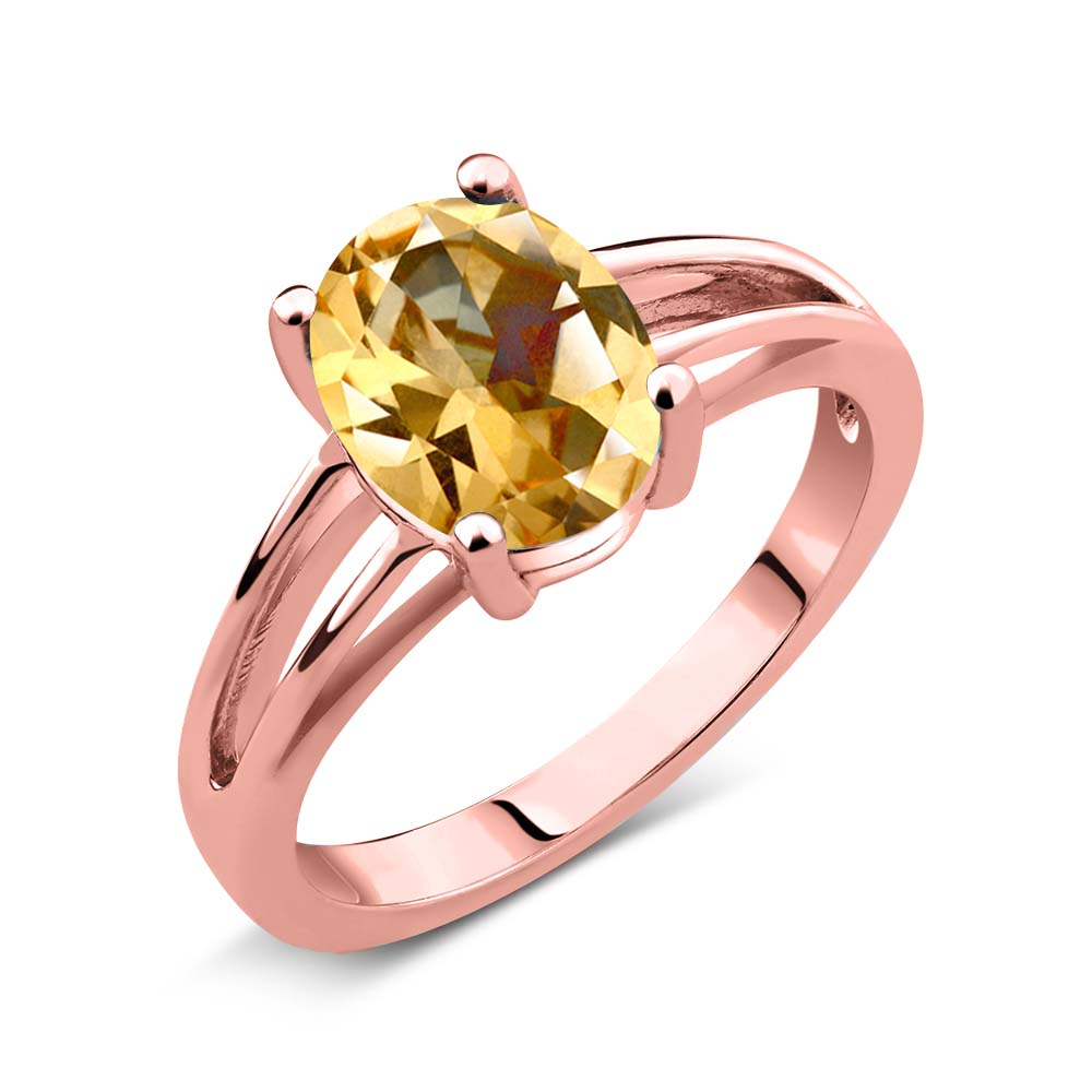 Gem Stone King 2.00 Ct Honey 14K Rose Gold Ring Natural Topaz Cut by Swarovski