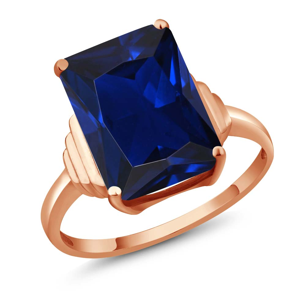 Gem Stone King 1Octagon Blue Simulated Sapphire 14K Rose Gold Ring