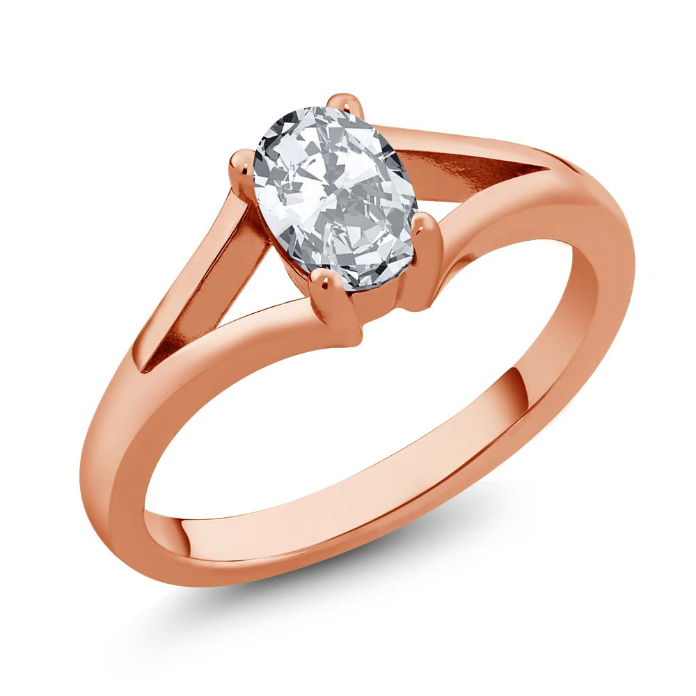 Gem Stone King 1.50 Ct Oval White Zirconia 14K Rose Gold Ring