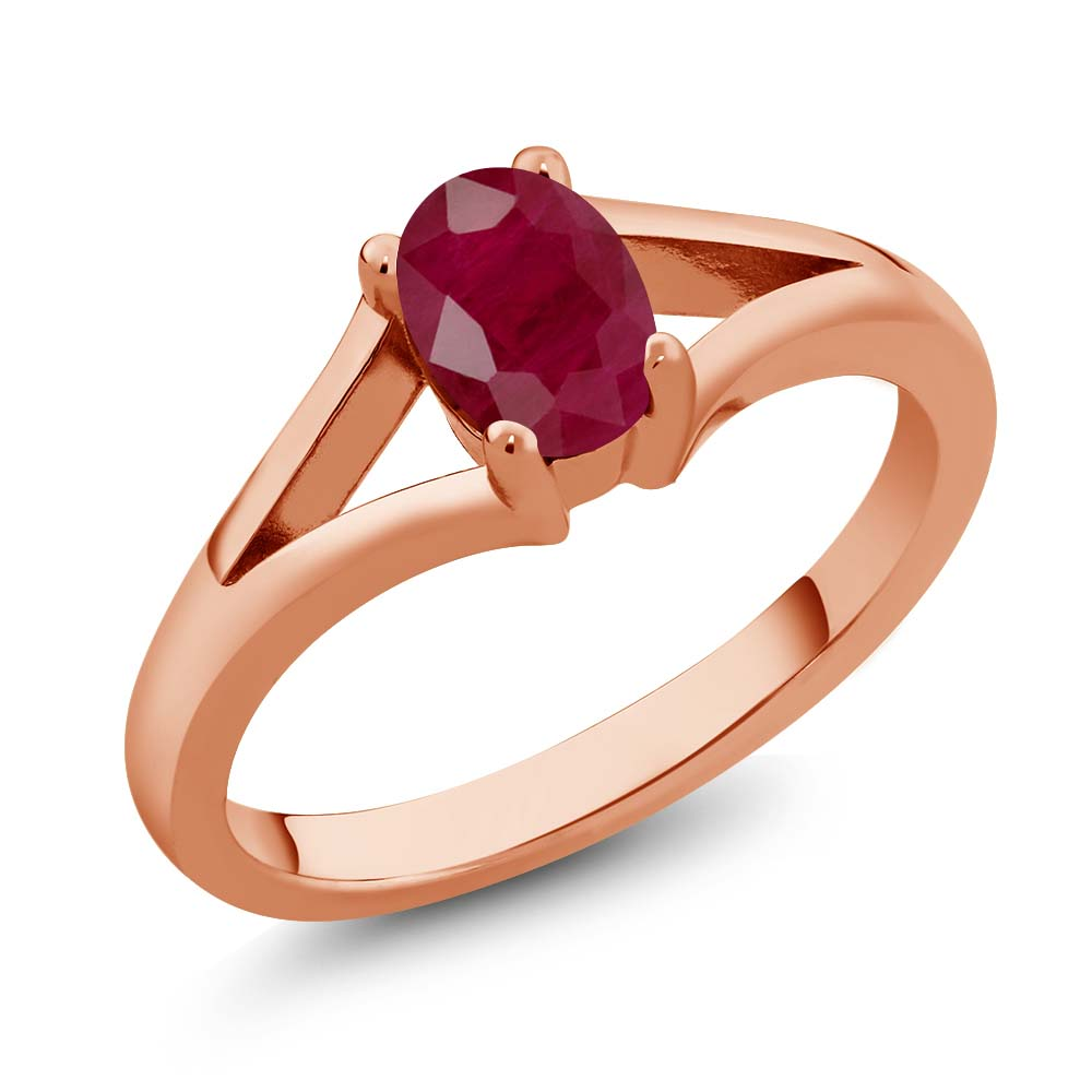 Gem Stone King 1.02 Ct Oval Red Ruby 14K Rose Gold Ring