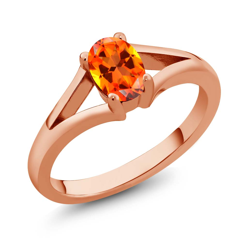 Gem Stone King 1.00 Ct Poppy 14K Rose Gold Ring Natural Topaz Cut by Swarovski