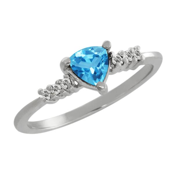 Gem Stone King 0.65 Ct Trillion Swiss Blue Topaz White Topaz 18K White Gold Ring