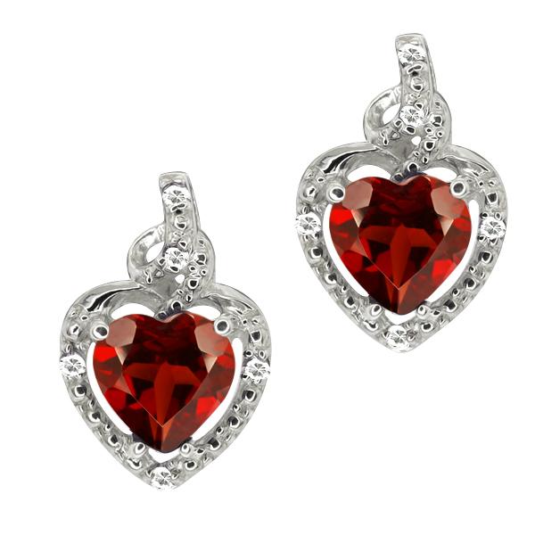 86 Ct Heart Shape Red Garnet White Topaz Sterling Silver Earrings