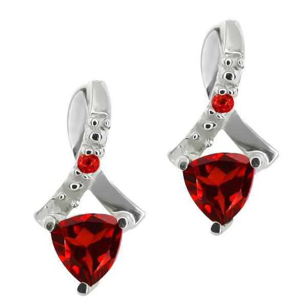 Gem Stone King 0.71 Ct Genuine Trillion Red Garnet Gemstone 14k White Gold Earrings