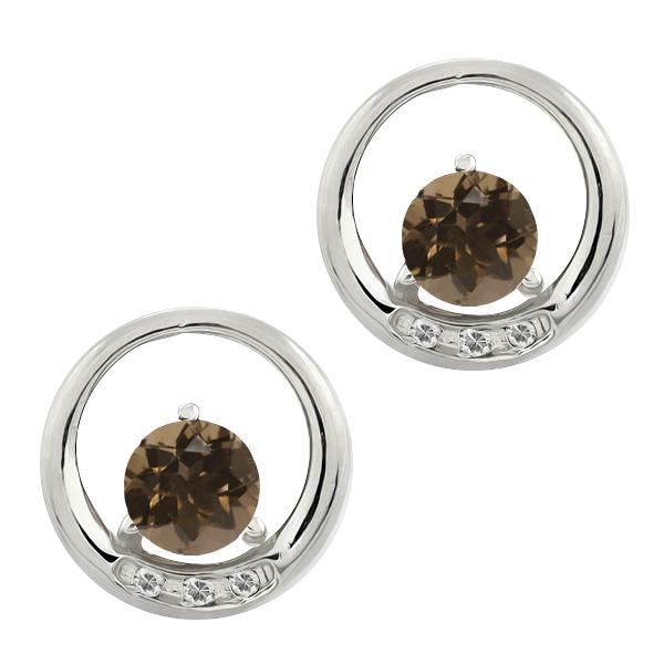 Gem Stone King 0.96 Ct Round Brown Smoky Quartz and White Topaz 18k White Gold Earrings